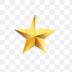 Golden Five-pointed Star - Star Polygon Pentagram Gold Yellow PNG