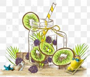 Hand Painted Kiwi Mulberry Lemon Beach Background - Tea Juice Fruit Food Drink PNG