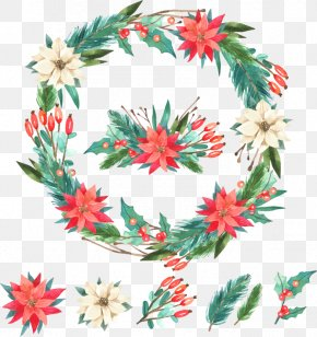 Hand-painted Flowers Christmas Wreath - Flower Wreath Christmas Garland PNG