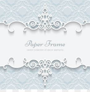 White Lace Border Pattern Vector Card - Paper Wedding Invitation Lace Ornament PNG