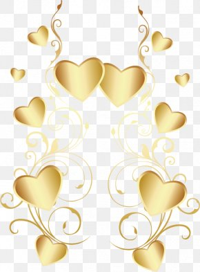 Heart-shaped, Gold Heart-shaped, Material Taobao, Valentine's Day Element - Heart PNG
