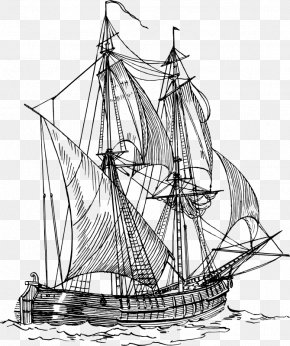 Ship Outline - Sailing Ship Piracy Clip Art PNG