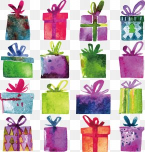Gift - Watercolor Painting Gift Decorative Box Stock Photography PNG