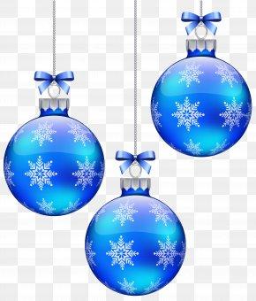 Blue Christmas Balls Decoration Clipart Image - Christmas Ornament Snowflake Blue Sphere PNG