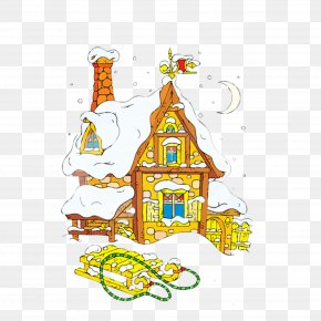 Cute Cartoon Snow House Material Graphics - Santa Claus House Gingerbread House Clip Art PNG