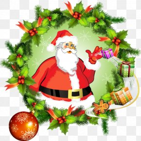 Santa Claus - Santa Claus Christmas Day Vector Graphics Clip Art Wreath PNG