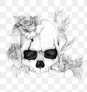 Rose - Human Skull Symbolism Rose Drawing Tattoo PNG