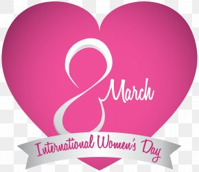 March 8 International Womens Day Pink Heart PNG Clipart Image - International Women's Day Woman Clip Art PNG