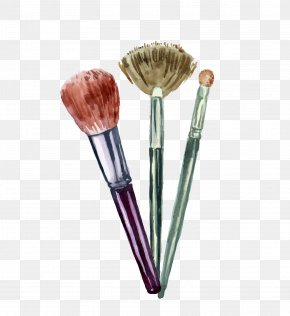 Makeup Brush Combination - Cosmetics Graphic Design Illustration PNG
