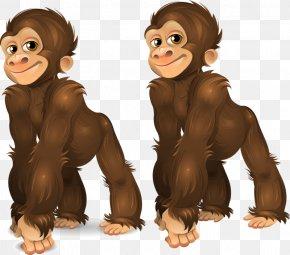 Two Little Orangutan - Gorilla Common Chimpanzee Orangutan Ape Monkey PNG