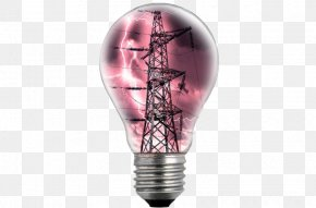 Light Bulb In The High-voltage Tower - Incandescent Light Bulb Electricity High Voltage Lamp PNG