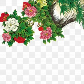 Peony - Moutan Peony Floral Design Wallpaper PNG