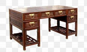 Xi'an Old Elm Wood Book Case Retro Desk - Trestle Desk Table Office PNG