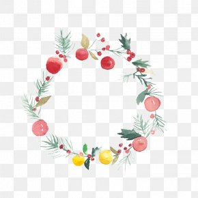 Christmas Hand-painted Pattern Material - Christmas Watercolor Painting Wreath Flower PNG