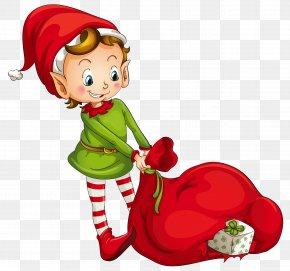 Christmas Elf With Santa Bag Clipart - The Elf On The Shelf Christmas Elf Clip Art PNG
