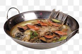 Fried Fish Soup Pot - Soup Food Fish Dish PNG