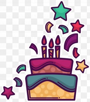 Purple Cartoon Birthday Cake - Birthday Cake Cartoon Clip Art PNG