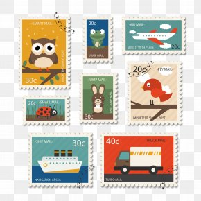 Travel Vector Stamps With Animals - Paper Postage Stamp Mail PNG