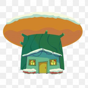 Vector Orange Mushroom Cartoon Cabins - Cartoon Illustration PNG