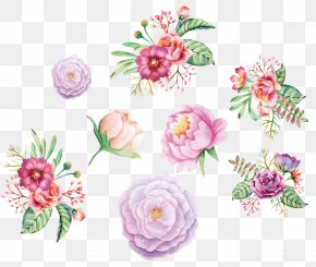 Watercolor Hand Painted Flower Decoration - Watercolor Painting Flower Floral Design PNG