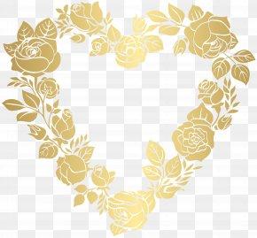 Floral Golden Heart Border Frame Clip Art - Heart Clip Art PNG