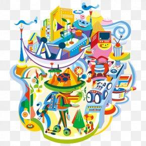 Color Cartoon Illustration Of The City - Designer Illustration PNG