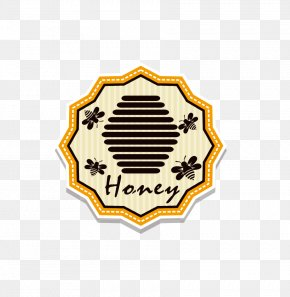 Vector Bee Yellow Hexagon Seal Sticker - Honey Bee Euclidean Vector PNG