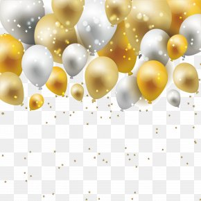 Dream Gold And Silver Balloon Borders - Material Yellow Pattern PNG