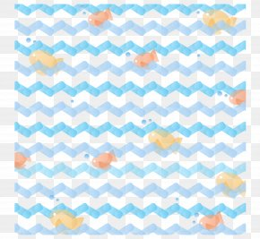 Vector Blue Wave Pattern Ocean Fish - Dress Zigzag Teal White Textile PNG