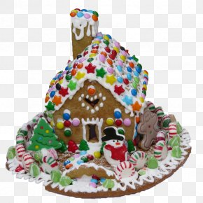 Christmas Candy Gingerbread House - Gingerbread House Icing Christmas Pastry PNG