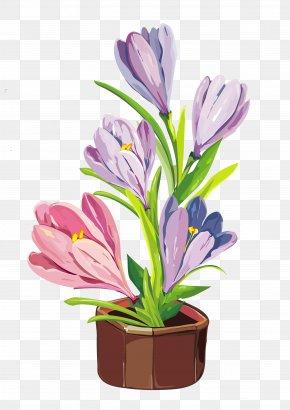 Spring Crocus Pot Clipart - Flowerpot Crocus Clip Art PNG