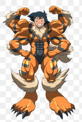 Pokemon - Ash Ketchum Pokémon Red And Blue Arcanine Machamp PNG