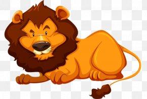 Lazy Lion - Wildlife Animal Illustration PNG