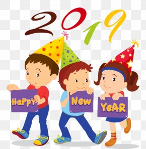 Happy New Year 2019 Flower - Clip Art New Year Image Christmas Day Openclipart PNG