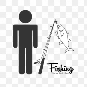 People Silhouettes And Fishing Rod Image - Stock Illustration Icon PNG