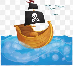 Pirate Ship In The Sea - Piracy Ship Boat PNG