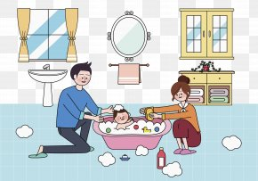 Father And Mother Take Bath For Their Son - Bathing Infant Bathtub Child PNG