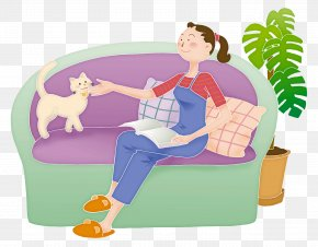 Hand Drawn Illustrations With Cats To Relax - Cat Couch Clip Art PNG