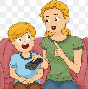 Cartoon Children Watching TV Reminder Vector - Mother Child Photography Clip Art PNG