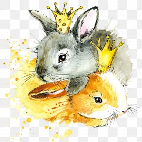 Watercolor Cartoon Rabbit - Watercolor Painting Drawing Royalty-free European Rabbit Illustration PNG