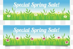 Banner Banner Grass Spring Beautiful Season - Season Web Banner Spring Sales PNG
