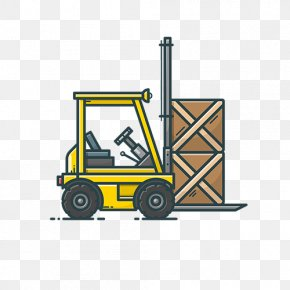 Yellow Simple Moving Truck - Icon Design Apartment Gratis PNG