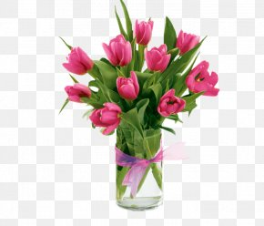 Tulip - Tulips In A Vase Pink Flower PNG