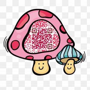 Pink Mushrooms Recognize Two-dimensional Code - Tibetan Mastiff Information Euclidean Vector QR Code PNG