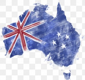 Watercolor Blue Flag Of Australia - Flag Of Australia Map PNG
