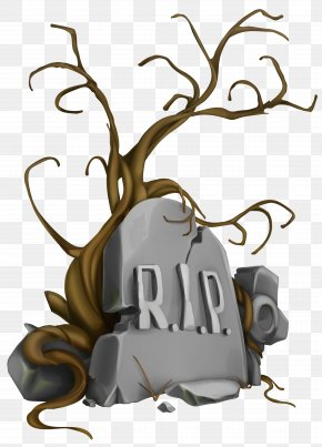 Halloween RIP Tombstone And Tree Clipart Image - Headstone Icon Clip Art PNG