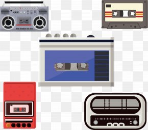 Vector Radio Tape Recorder - Tape Recorder Compact Cassette Magnetic Tape PNG