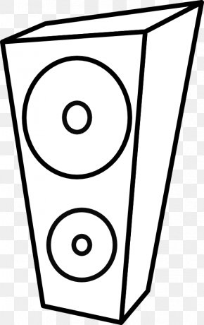 Black And White Line Art - Loudspeaker Computer Speakers Black And White Clip Art PNG