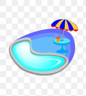 Cartoon Blue Swimming Pool - Swimming Pool Cartoon PNG