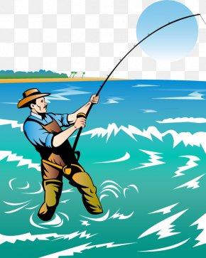 Vector Fishing - Fishing Rod Fisherman Clip Art PNG